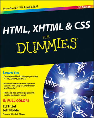 HTML, XHTML & CSS For Dummies Book Cover Image