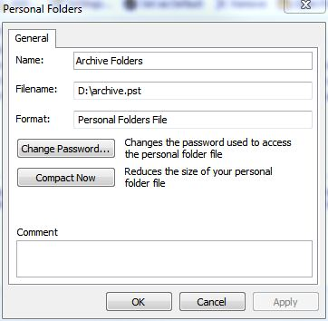 Personal Folders opens on a per-PST basis and includes a Compact Now option