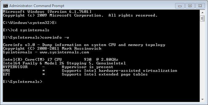 Coreinfo -v produces virtualization info