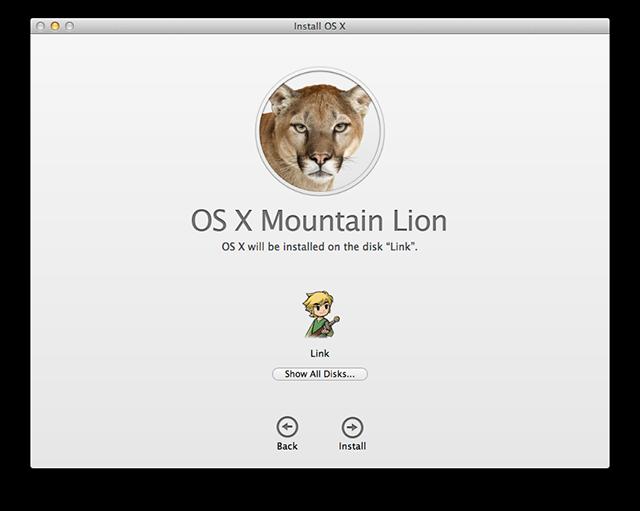 Home screen for the OS X Mountain Lion installer