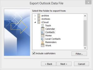 Just as you can export local Outlook contacts, you can do likewise for iCloud contacts.