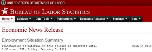 Banner from Employment Situation Summary for January 2014