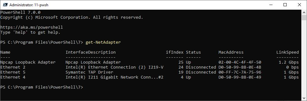 Identify Active Win10 Network Adapter.ps7-getnetadap