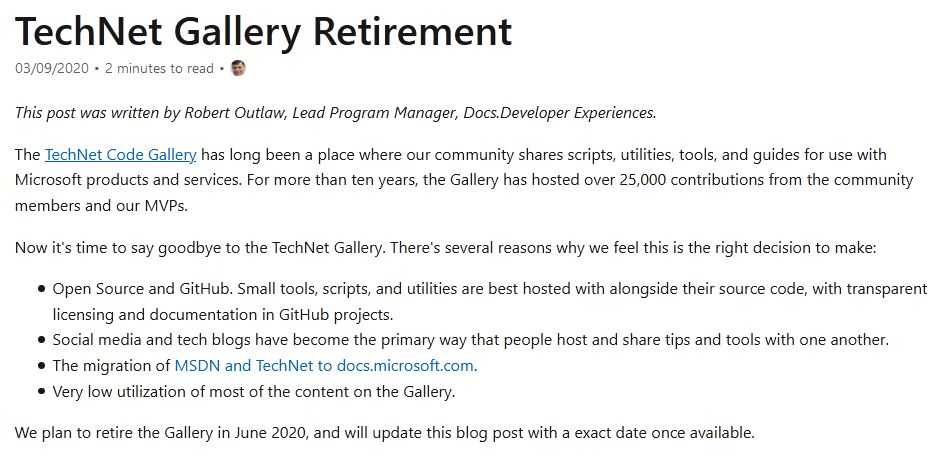 Technet Gallery Retires June 2020
