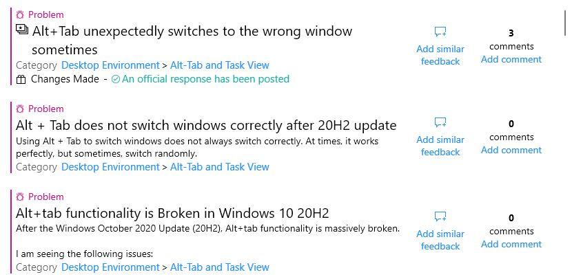 """Feedback hub search """"Alt+Tab 20H2"""""""