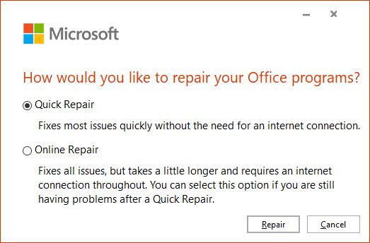 Wonky Word Launches Standard Windows 10 Repair Drill: Office Repair options.