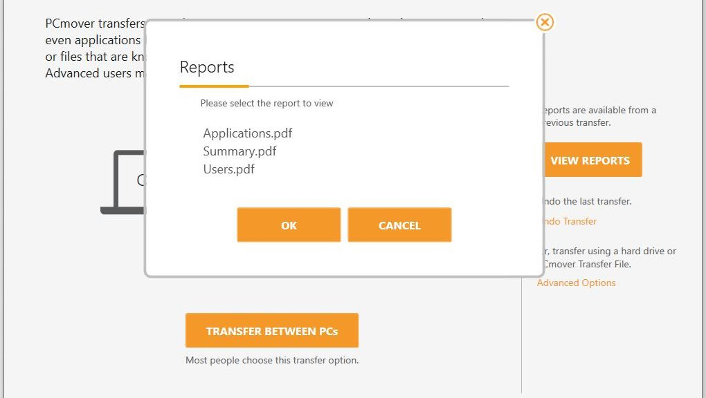 Recent LapLink PCmover Experience produces reports about applications, users, and an overall summary.