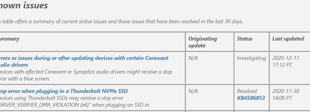 """KB4586853 Fixes Thunderbolt NVMe SSD Stop Error per """"Known Issues"""" 11/30."""