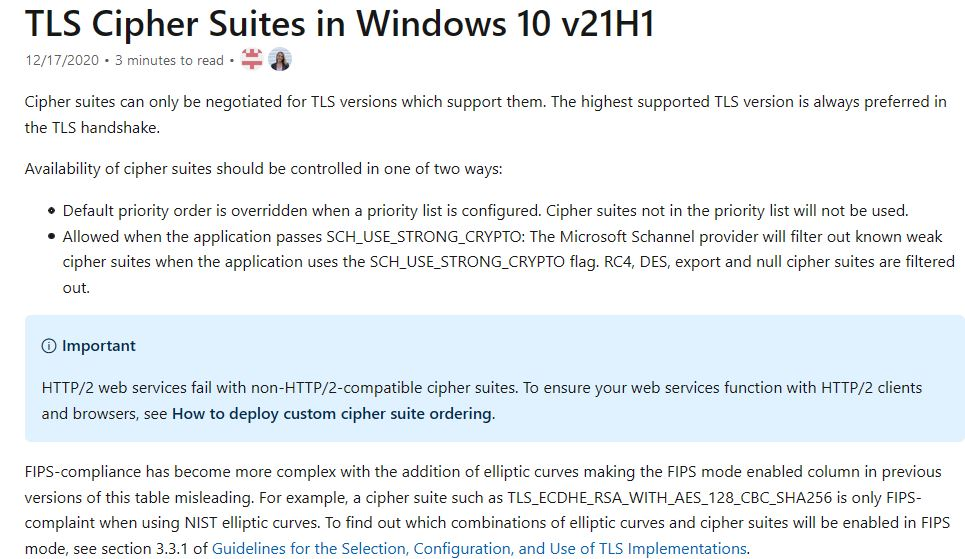 TLS Cipher Suites Doc Quietly Confirms 21H1 Release Coming Soon, along with nomenclature and immanent availability.
