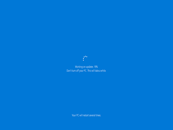 MS Docs Names Windows 10 Upgrade Four Phases; this screencap is from the SafeOS phase.