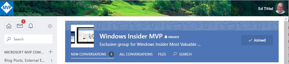 My Insider Preview Working Routine Revealed.yammer-banner