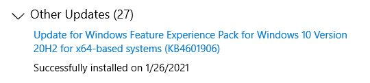Pondering Windows Experience Pack Updates.update-history