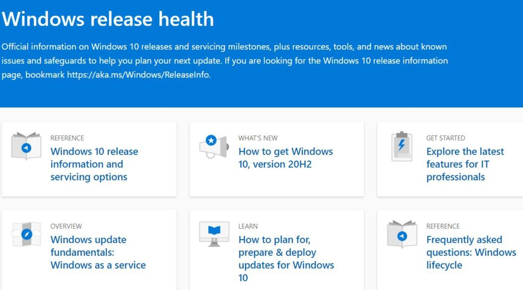 Windows Release Health Gets MS Makeover: page header.