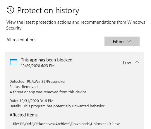 Multiple Methods Clear Defender Threat History but it proves necessary to wipe the contents of history.log to remove now-obsolete warnings.