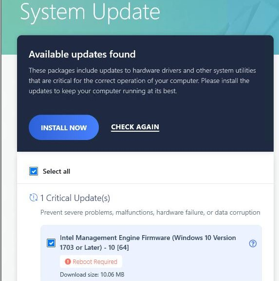 Lenovo Vantage Updates Take Patience: updates with reboots must be applied individually.