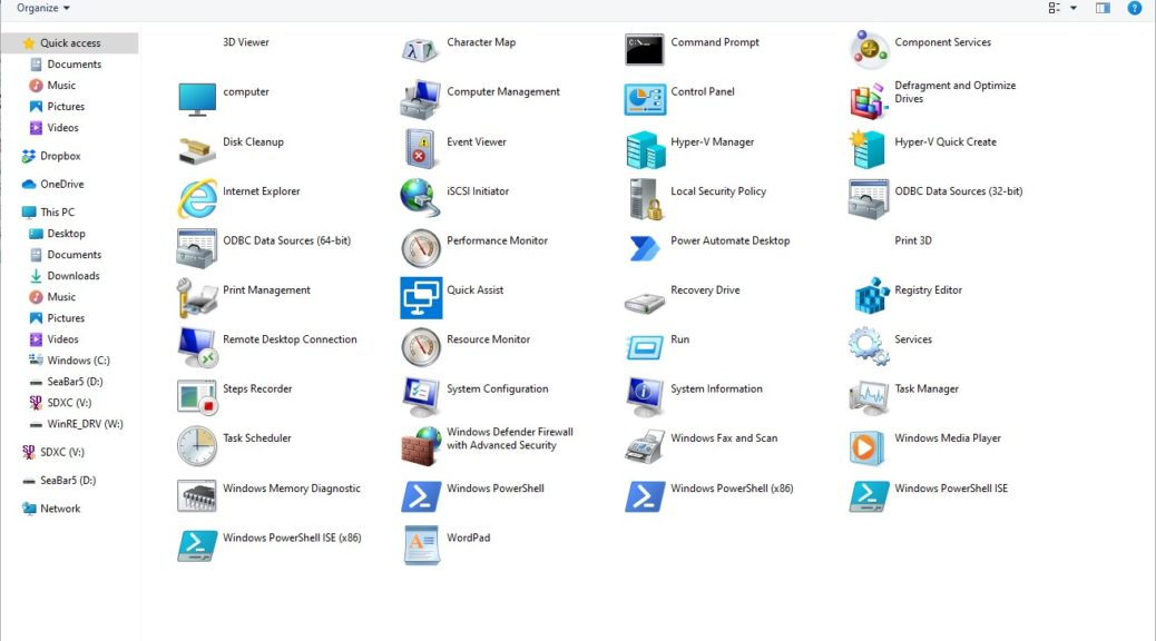 20H2 Builds Bring Windows Tools Folder