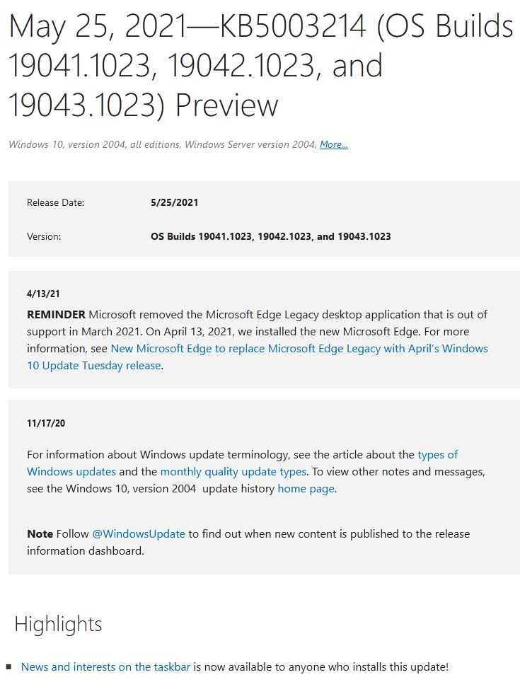 Build 19041/2/3.1023 Brings News & Interests Mainstream.proclamation
