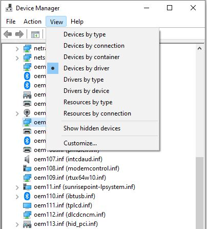DevMgr Gets View Devices by Driver Option