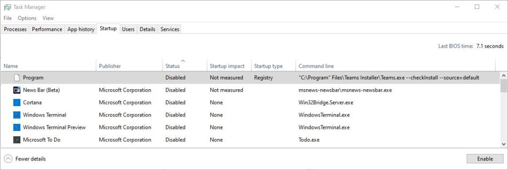 Identifying Windows 10 Mystery Startup Items.program