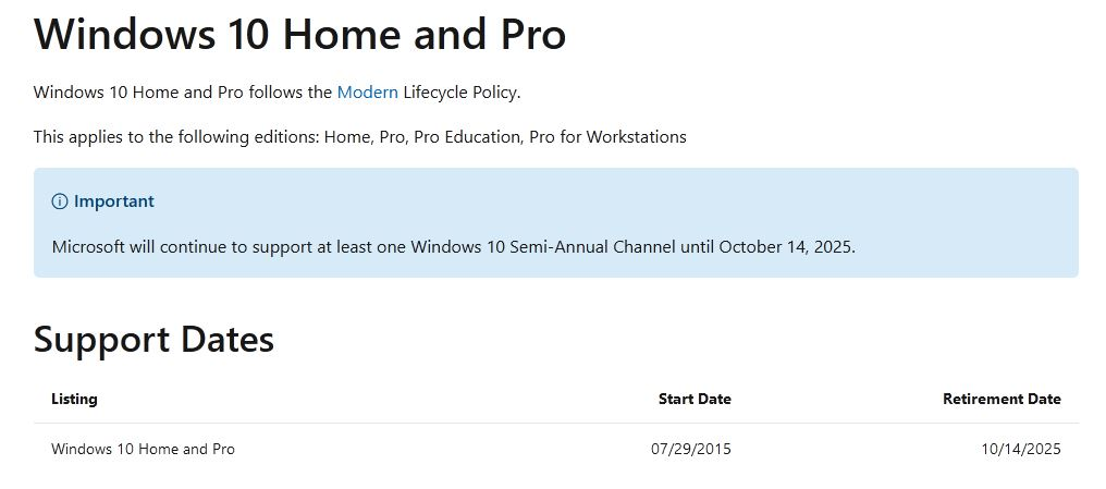 Windows 10 retirement is 2025--for Home and Pro versions