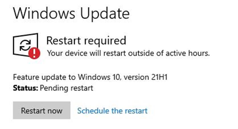 WU Extends X390 21H1 Offer.restart