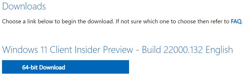 First Windows 11 ISOs Now Available.button