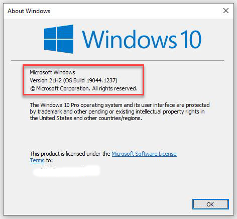 21H1 Build 19044.1237 Represents Upcoming Release